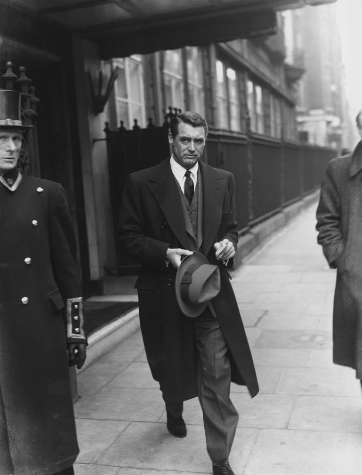 English-born actor Cary Grant (1904 - 1986) leaves his London hotel, 24th April 1946