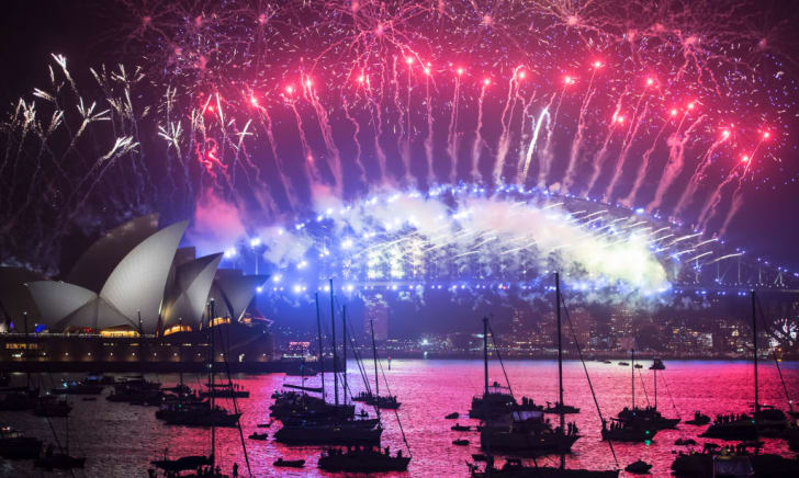 A fireworks display on New Year's Eve in Sydney, Australia.
