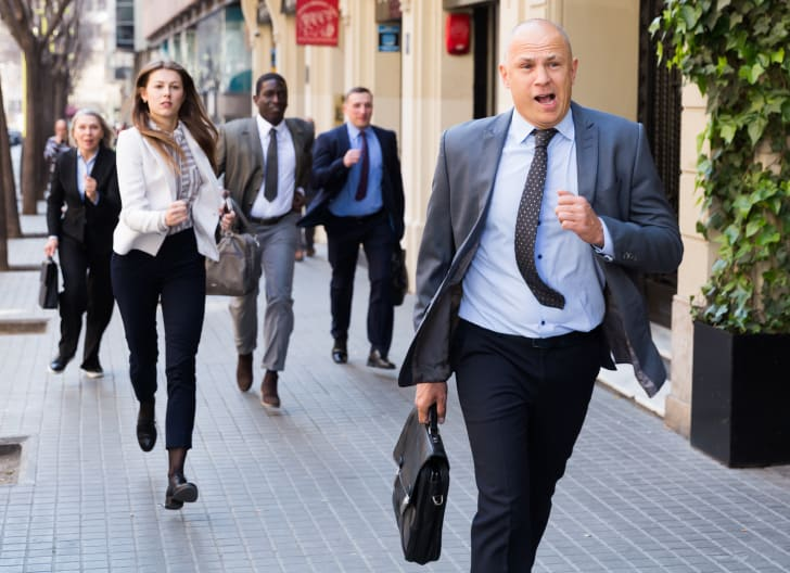 Businesspeople late for work