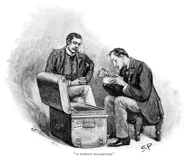 Sherlock Holmes and Watson looking through mementos