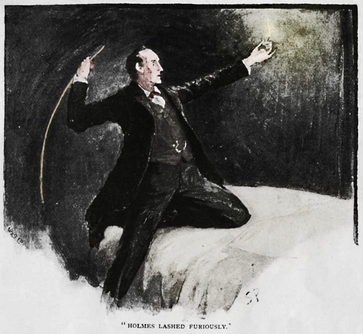 Holmes Lashed Furiously', 1892. Illustration from 'The Adventure of the Speckled Band' by Arthur Conan Doyle. From The Strand Magazine: An Illustrated Monthly - Vol. III. January to June, edited by George Newnes