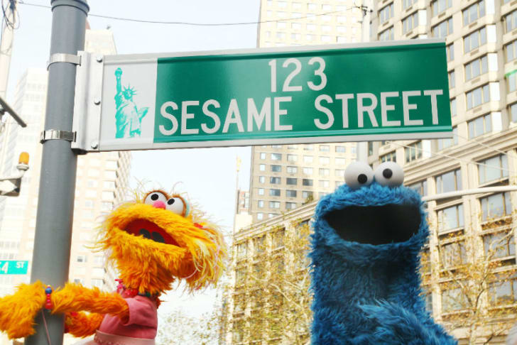 Zoe (L) and Cookie Monster (R) are pictured in New York City in November 2009
