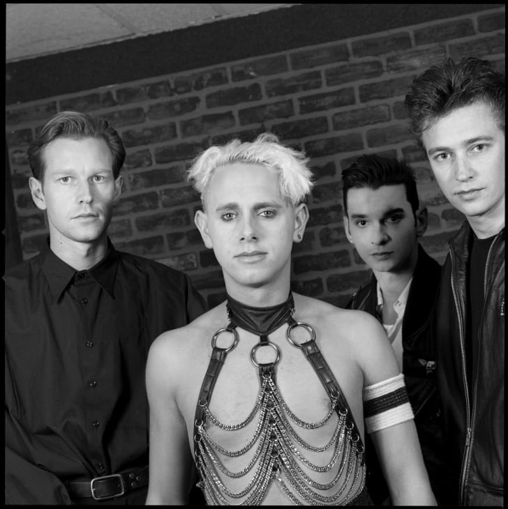 Photo of Depeche Mode's Andy Fletcher, Martin Gore, David Gahan, and Alan Wilder backstage at Madison Square Garden in 1987.