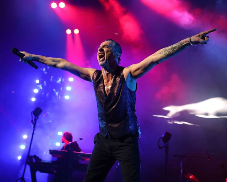 Photo of Dave Gahan of Depeche Mode performing at Brooklyn's Barclays Center on June 6, 2018