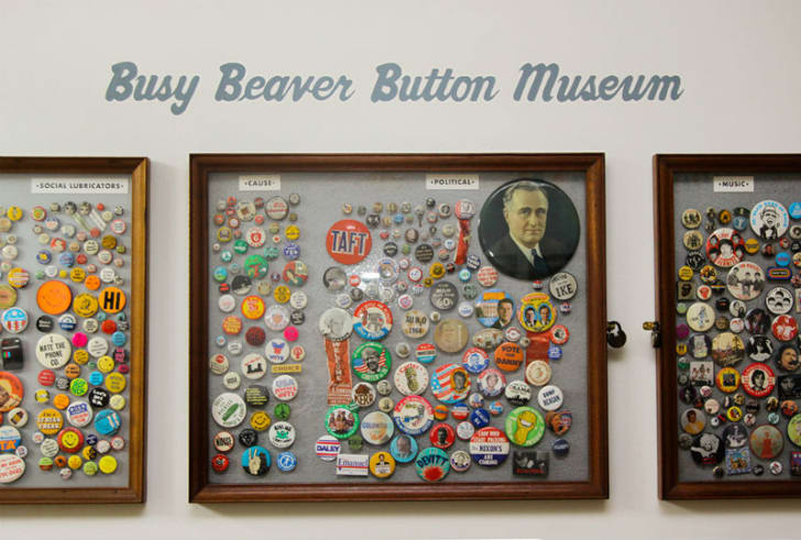 A display at the Busy Beaver Button Museum in Chicago, Illinois is pictured