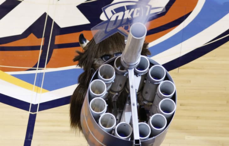 Rumble, the mascot for the Oklahoma City Thunder, fires a T-shirt cannon at Chesapeake Energy Arena in Oklahoma City, Oklahoma in May 2016