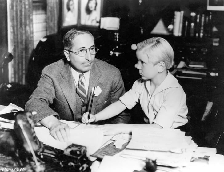 Child actor Jackie Cooper with MGM vice president Louis B Mayer in 1928.