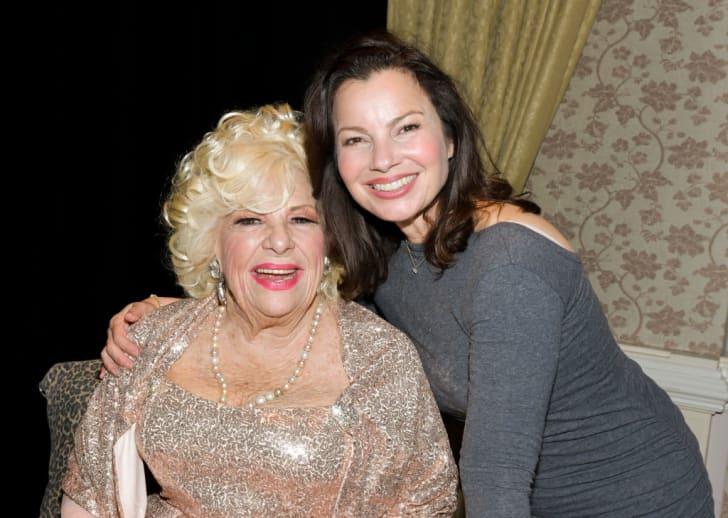 """Renée Taylor (L) and Fran Drescher pose for portrait at the LA Premiere of Renee Taylor's """"My Life On A Diet"""" Night 1 at Wallis Annenberg Center for the Performing Arts on April 05, 2019 in Beverly Hills, California"""