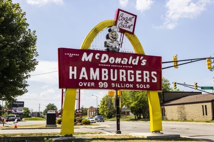 A Legacy McDonald's hamburger sign in Muncie, Indiana features original mascot Speedee.