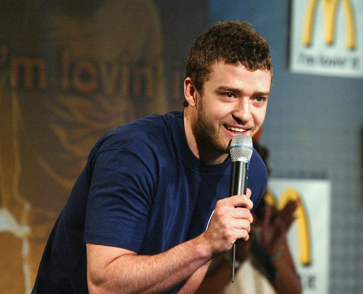 Singer Justin Timberlake speaks on stage at the McDonalds launch of their Sony Big Mac Meal tracks promotion on June 3, 2004 in Hollywood, California