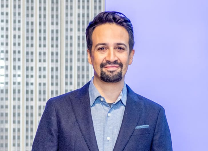 Lin-Manuel Miranda lights the Empire State Building blue in support of Small Business Saturday at The Empire State Building on November 25, 2019 in New York City