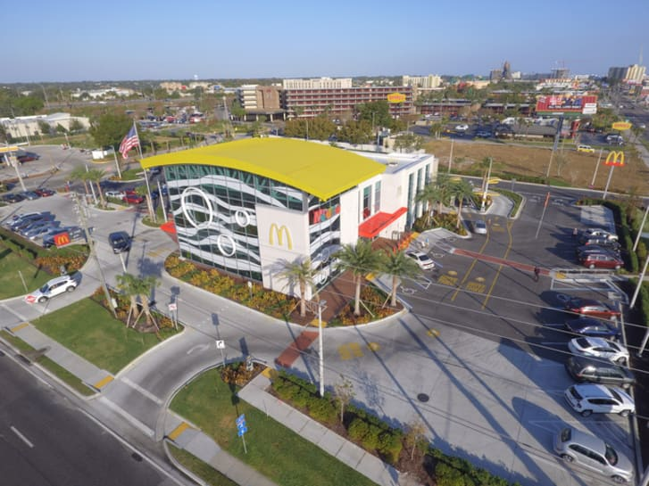 Aerial photo of the worlds largest McDonalds fast food restaurant and PlayPlace located in Orlando with close proximity to Disney