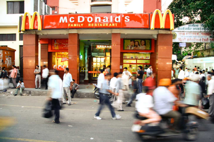 A photo of the McDonald's storefront in Delhi, India