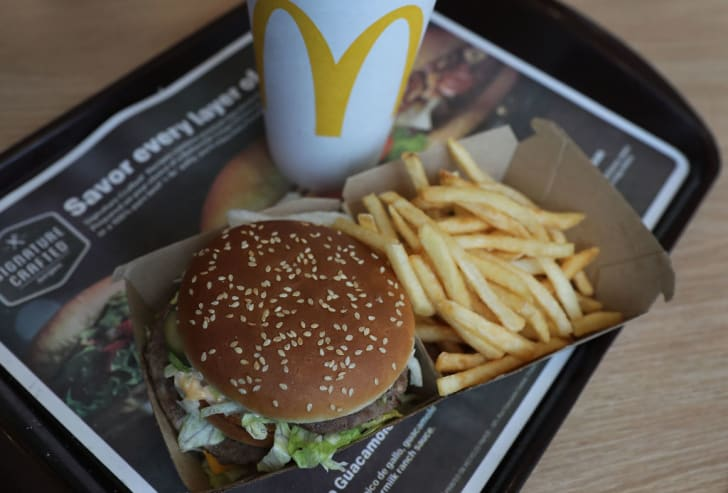 In this photo illustration, a McDonald's Big Mac and french fries are seen on a tray on April 30, 2018 in Miami, Florida