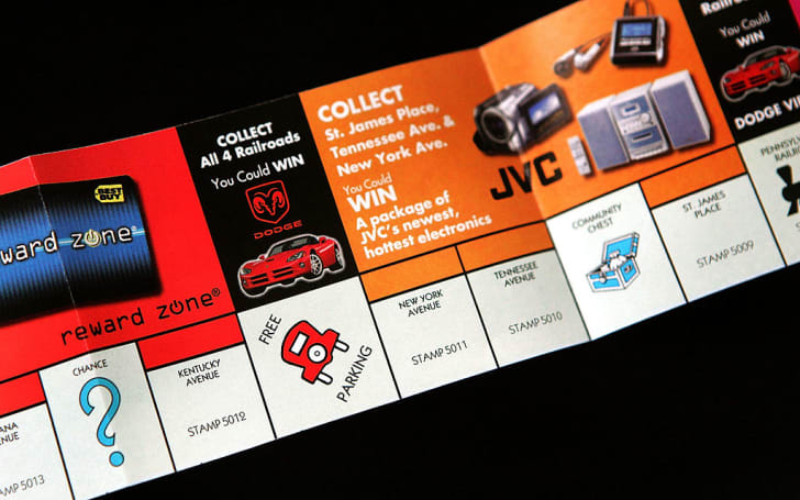 Part of a McDonald's Monopoly game board is seen October 5, 2005 in Des Plaines, Illinois