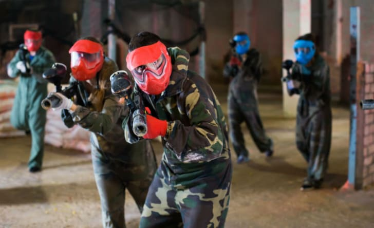 People playing paintball are pictured