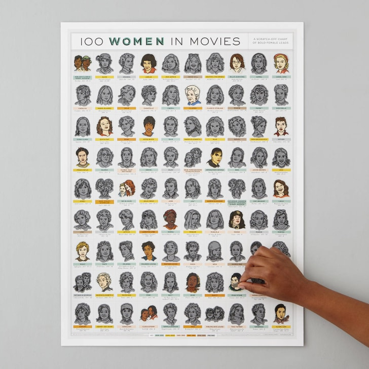100 Women in Movies scratch-off poster from UncommonGoods.