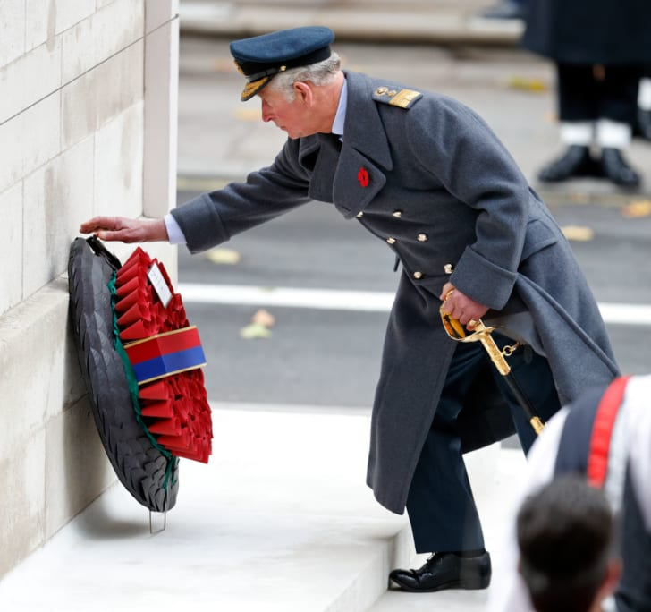 Prince Charles, Prince of Wales lays a wreath on behalf of Queen Elizabeth II during the annual Remembrance Sunday Service at The Cenotaph on November 12, 2017 in London, England