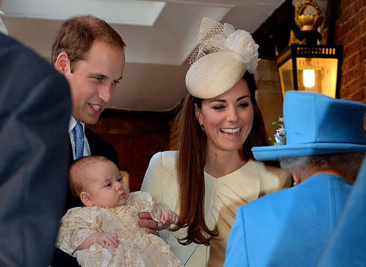 Prince William and Catherine, Duchess of Cambridge greet Queen Elizabeth II as she arrives at the Chapel Royal in St James's Palace for Prince George's christening in 2013.