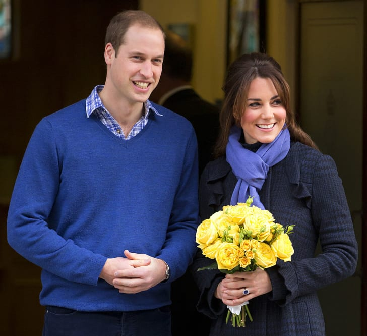 Prince William and his pregnant wife Catherine leave King Edward VII hospital in December 2012, where the Duchess was being treated for acute morning sickness.