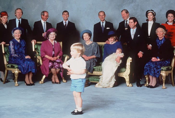 Young Prince William entertains the royal relatives and godparents who gathered at Windsor Castle on December 21, 1984 for the christening of Prince Harry.