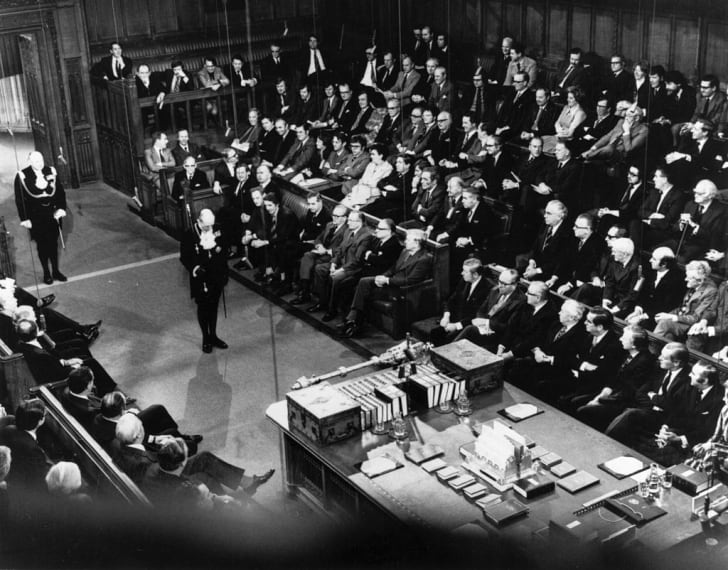 The British State Opening of Parliament ceremony commencing in the House of Commons with on October 29, 1974.