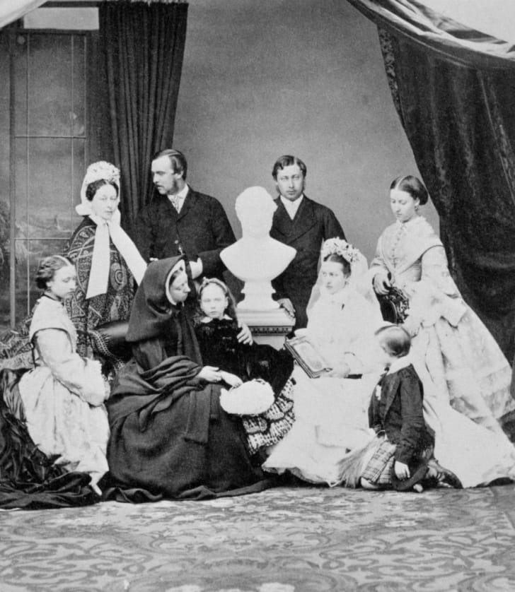 Queen Victoria and her family, circa 1863.