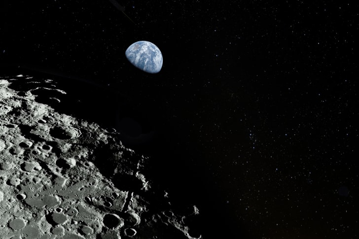 moon surface and earth in distance