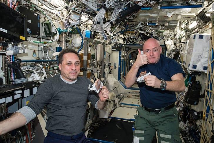 scott kelly and mickail kornienko at ISS