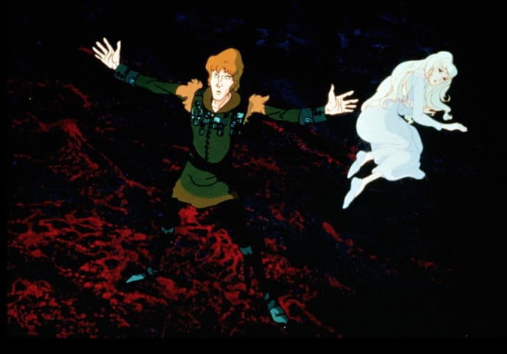 Jeff Bridges and Mia Farrow in The Last Unicorn (1982)