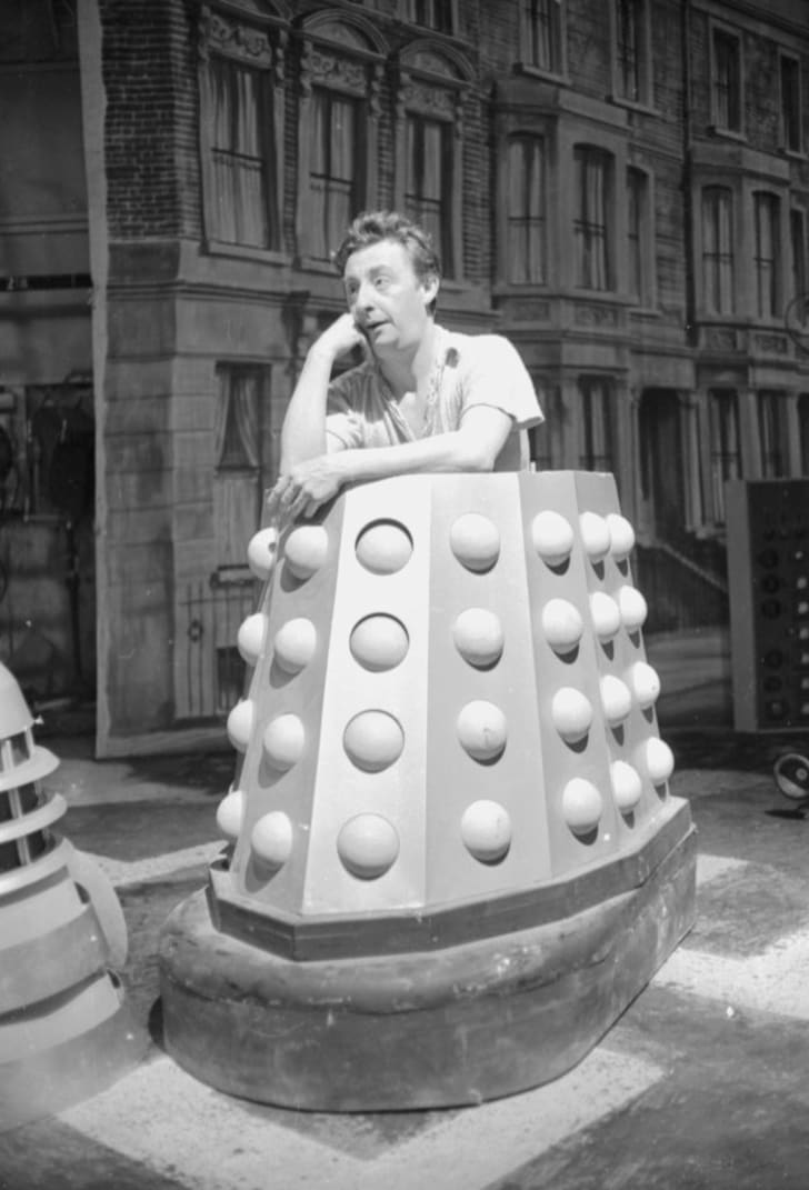 An actor inside his Dalek costume on the set of 'Doctor Who' in 1964.