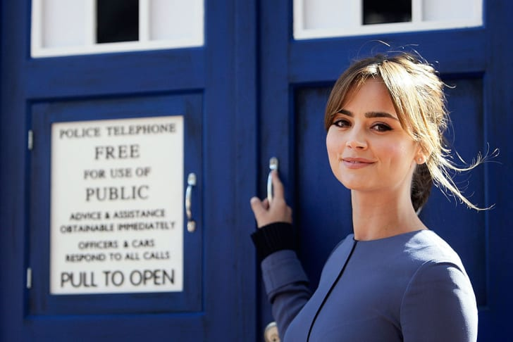 Jenna Coleman, who plays companion Clara Oswald, poses with the TARDIS in 2014.