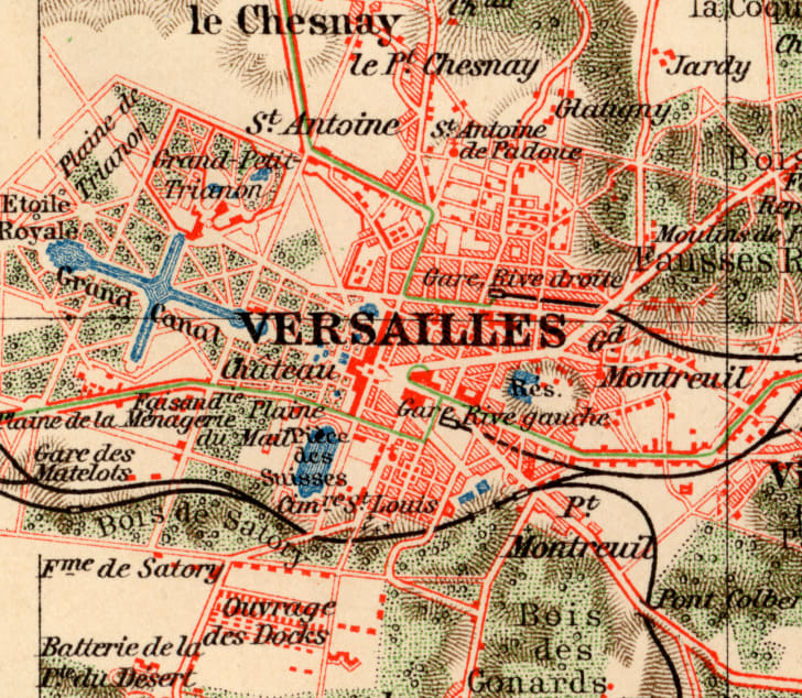A vintage map close up of Versailles