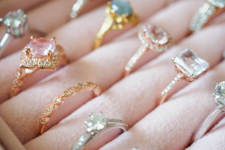 Jeweled rings in rows