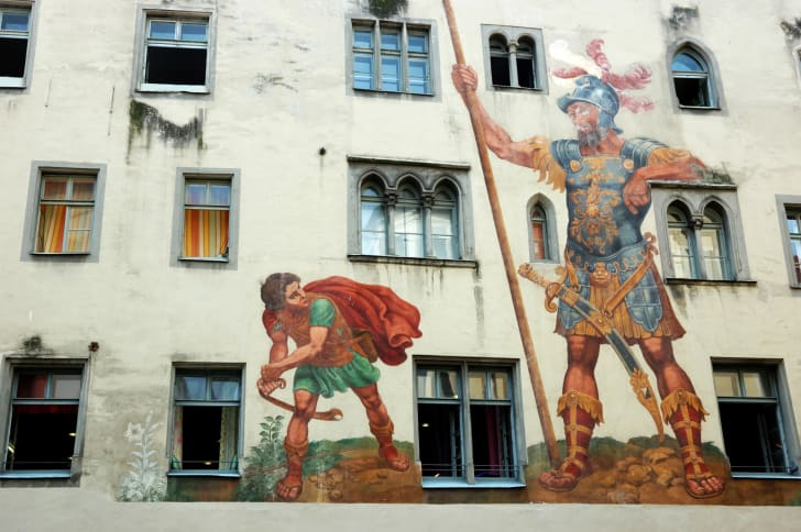david and goliath mural