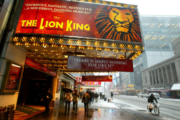 A theater sign for 'The Lion King' is pictured in New York City in March 2003