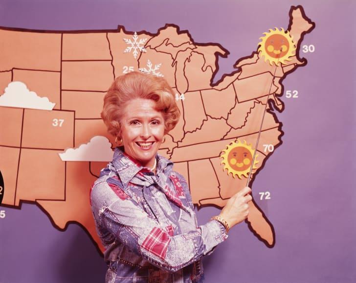 A retro image of a weatherwoman.