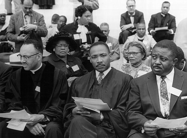 Rev. Martin Luther King attends a prayer pilgrimage for freedom May 17, 1957 in Washington