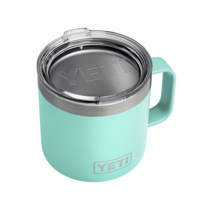 An insulated coffee mug from Yeti.