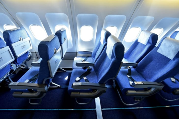 Airplane seats are pictured