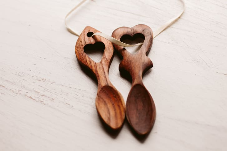Carved wooden spoons, traditionally gifted by Welsh lovers.