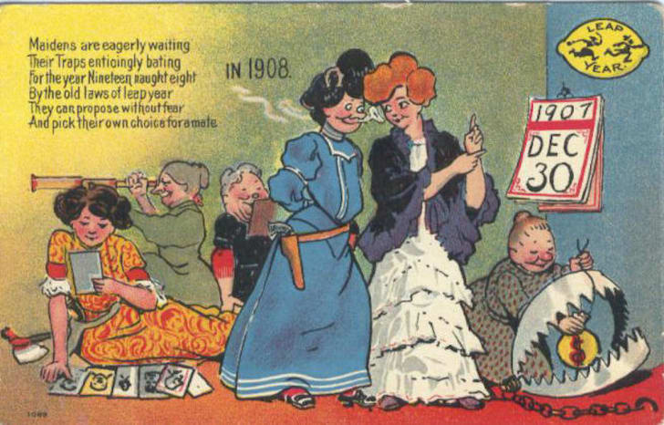 Comical vintage postcard shows women preparing elaborate traps for men in 1908 leap year