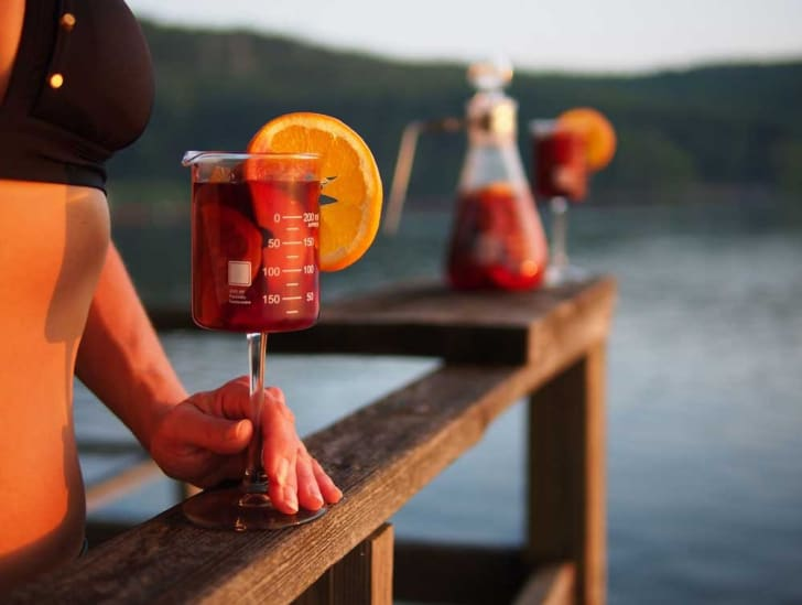 Wine glass beaker sold on Amazon.
