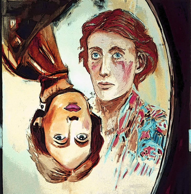 """""""Through the Looking Glass,"""" a print of Virginia Woolf."""