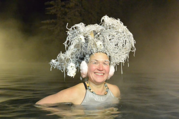 Hair freezing contest contestant.