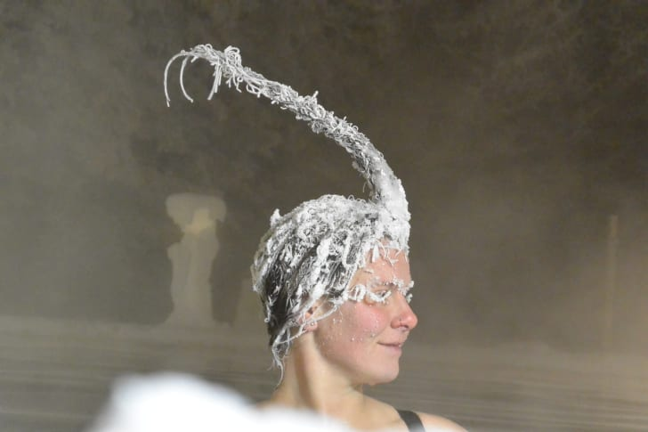 Hair freezing contest contestant.