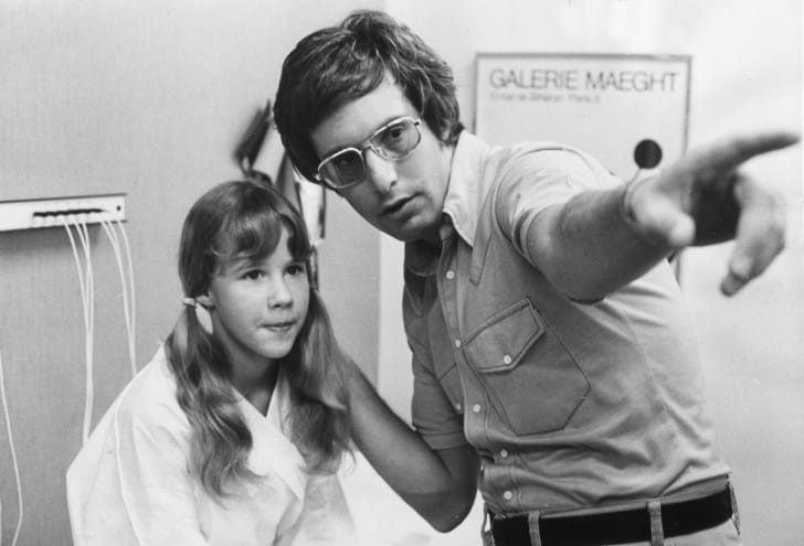 Wiliam Friedkin with Linda Blair on the set of The Exorcist (1973)
