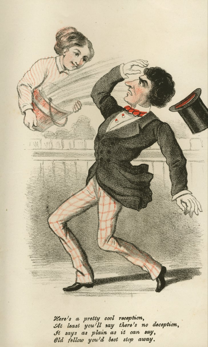 vinegar valentine shows woman throwing water on suitor