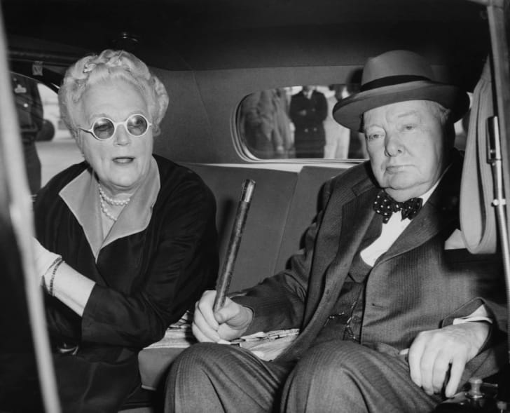 A photo of Winston Churchill and his wife, Clementine.