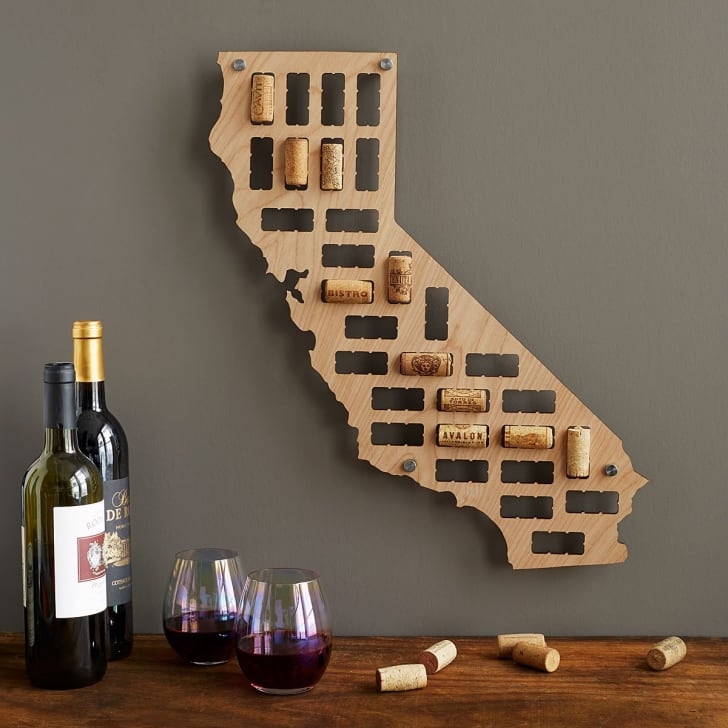 Wine cork holder in the shape of a state.